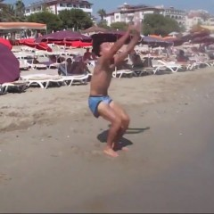 Flipping on the beach